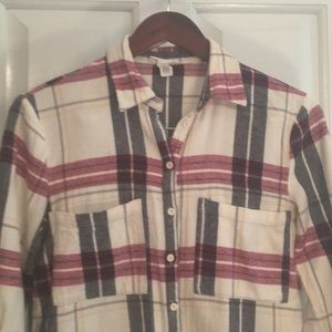 Full Tilt Flannel Button Down White, Blue, and Red